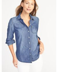 85da3784 Old Navy Relaxed Twill Tunic Shirt in Blue - Lyst