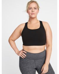 08458654fd1 Lyst - Old Navy Medium Support Plus-size Racerback Sports Bra in Blue