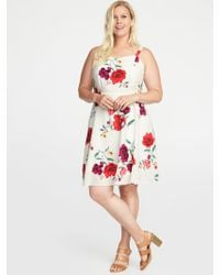 4b5cd83fa9b Old Navy - Floral-print Fit   Flare Plus-size Cami Dress - Lyst