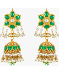 Amrapali - Emerald And Pearl Chandelier Earrings - Lyst