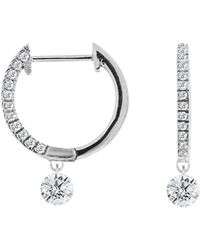 Meira T - Pavé Diamond Drop Gold Hoops - Lyst