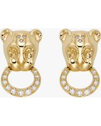 Temple St. Clair - Diamond Pavé Lion Cub Earrings - Lyst