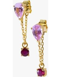 Yi Collection - Pink Topaz And Ruby Chain Earrings - Lyst