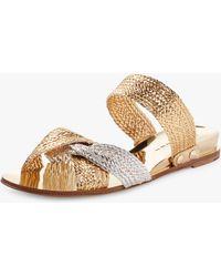 76bccf0dd Lyst - Casadei Flat Sandals - Black gold in Black