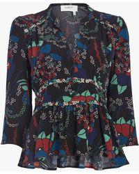 Ba&sh - Alix Floral 3/4-sleeve V-neck Top - Lyst