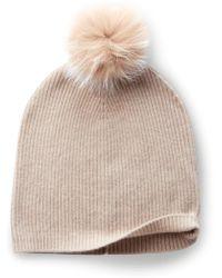 Sofia Cashmere - Cashmere Hat With Fox Fur Pom - Lyst