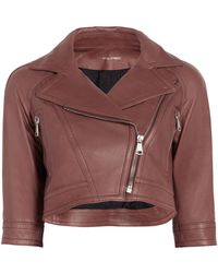 Yigal Azrouël - Cropped Leather Moto Jacket - Lyst