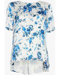 Adam Lippes - Floral Hammered Silk T-shirt - Lyst