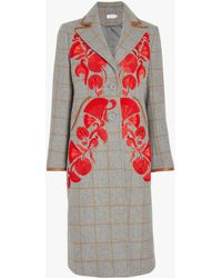 Tanya Taylor - Embroidered Camel Plaid Coat - Lyst