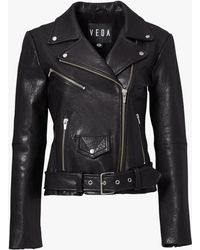 VEDA - Jayne Classic Leather Jacket Black - Lyst