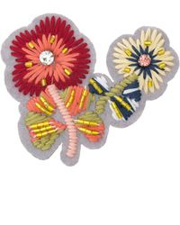 Oliver Bonas - Mabel Embroidered & Beaded Brooch - Lyst