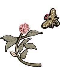 Oliver Bonas - Joni Flower & Bee Embriodered Brooches Set Of Two - Lyst