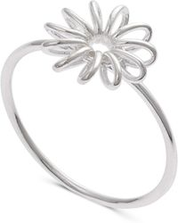 Oliver Bonas - Isabeau Wire Flower Silver Ring - Lyst