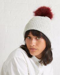 5b4be97e4b1 Oliver Bonas - Leaf Knit Faux Fur Pom Grey Beanie Hat - Lyst