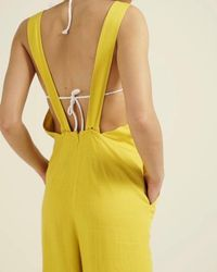 Oliver Bonas - Wow Yellow Layering Linen Jumpsuit - Lyst