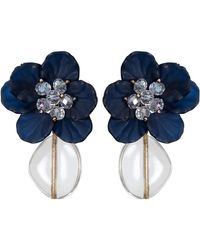 Oliver Bonas - Charlett Flower & Clear Drop Earrings - Lyst