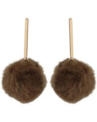 Oliver Bonas - Breena Bar & Faux Fur Pom Drop Earrings - Lyst