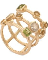 Oliver Bonas - Amare Three Stone Gold Plated Ring - Lyst