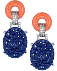 Kenneth Jay Lane - Coral Top Carved Lapis Drop Deco Clip Earrings - Lyst