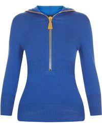 La Perla - Knitwear Hot Blue Merino Wool Hooded Sweater With Oversized Zip - Lyst