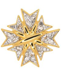 Kenneth Jay Lane - Polished Gold And Crystal Maltese Cross Pin - Lyst