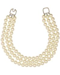 Kenneth Jay Lane - 3 Row Pearl Necklace With Silver Clasp - Lyst