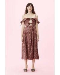 Rebecca Taylor - Off-the-shoulder Spring Leopard Bow Dress - Lyst
