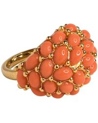 Kenneth Jay Lane - Gold Light Coral Cab Ring - Lyst