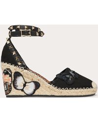Valentino Embroidered Butterfly Canvas Wedge Sandal 85 Mm