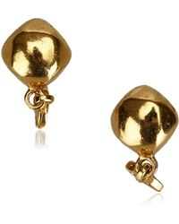 Chanel - Cc Gold Toned Clip On Drop Earrings - Lyst