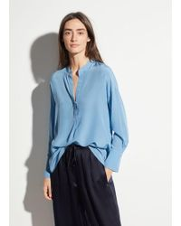 b86670845a257d Lyst - Vince Stretch Silk Band Collar Blouse in Blue