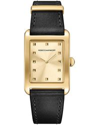 Rebecca Minkoff - Moment Gold Tone Leather Watch, 26.5mmx38.5mm - Lyst