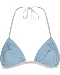 a295e57709 Lyst - La Perla Waves Azure Ruched Halterneck Bikini Top in Blue