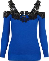 La Perla - Knitwear Hot Blue Merino Wool Off-shoulder Sweater With Macramé Detail - Lyst