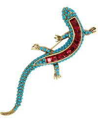 Kenneth Jay Lane - Turquoise & Ruby Newt Pin - Lyst
