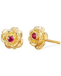 75f79a0e0 Johnny Was - 14k Gold Rosebud Studs With Ruby Earrings - Lyst