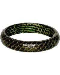 Kenneth Jay Lane - Snake Leather Bangle Bracelet - Green - Lyst