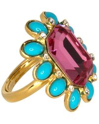 Kenneth Jay Lane - Crystal & Turquoise Oval Ring - Lyst
