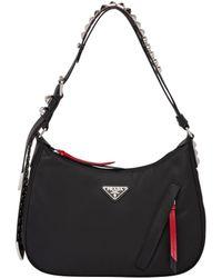 de2e51e0074c Prada - Black Nylon Hobo Bag With Leather And Studs - Lyst