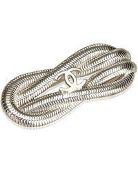 Chanel - Cc Silver-toned Metal Brooch - Lyst