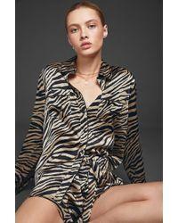 Anine Bing - Vivienne Silk Pajama Shirt - Zebra - Lyst