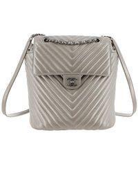 Chanel - Metallic Chevron Calf Leather Drawstring Backpack - Lyst