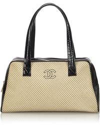 c74c0cd20174 Lyst - Chanel Pink Patent Leather Cc Logo Mini Pouch Crossbody ...