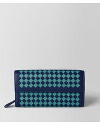 Bottega Veneta - Atlantic/aqua Intrecciato Checker Continental Wallet - Lyst