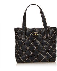 Chanel - Surpique Leather Tote - Lyst