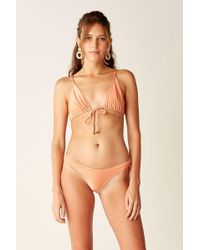Suboo - Tie Front Triangle Top - Coral - Lyst