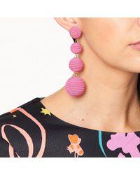 Kenneth Jay Lane - Pink Thread Wrapped Ball Pierced Earrings - Lyst