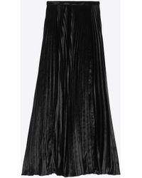 e0df0a2e75c Saint Laurent Velvet A-line Midi Skirt in Black - Lyst