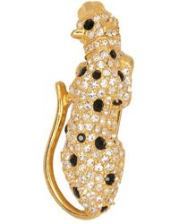 Kenneth Jay Lane - Gold With Crystal And Jet Spots Leopard Pin - Lyst