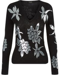La Perla - Knitwear Black And Silver Silk Sweater With Floral Sequins - Lyst